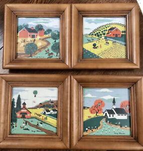 Vintage Set 4 MARGO ALEXANDER Mid Cen FOLK ART Americana Hand Serigraphs 40-50s