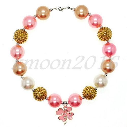 Pink Clover Pendant Chunky Beads Bubblegum Gumball Necklace Girls X-MAS Gift