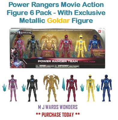 Power Rangers Figura De Acción Película Paquete de 6-con figura exclusiva Metálico Goldar