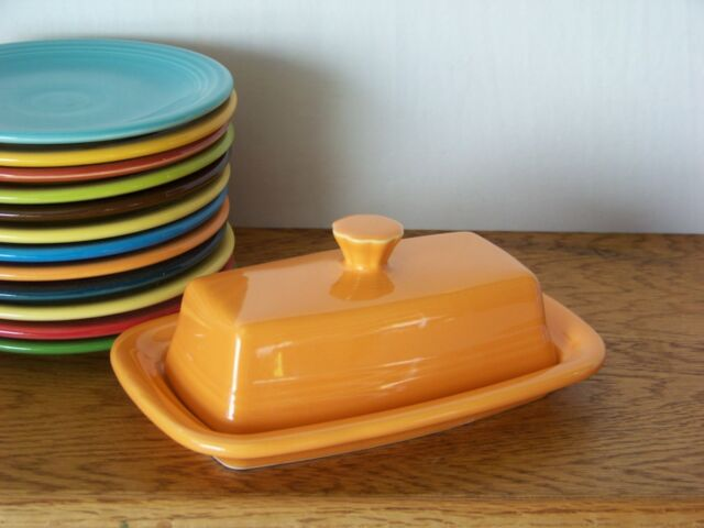 TANGERINE Fiesta® Extra Large Covered Butter Dish Set Discontinued Color - 1st