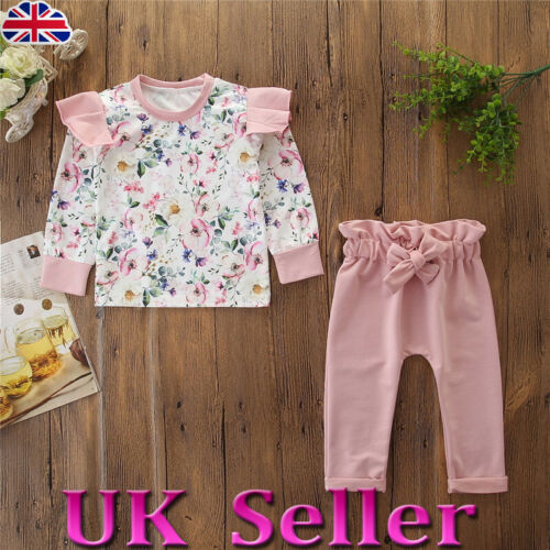 UK Infant Baby Kids Girls Floral Print Long Sleeve T-shirt Long Trousers Outfits
