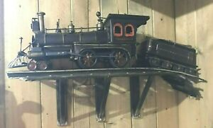 Vtg-Metal-3-pc-Train-Engine-Log-Carrier-Trestle-Wall-Hanging