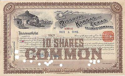 Kansas Missouri Texas Railway 100 shares stock certificate 1900/'s