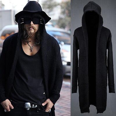 BytheR Men's Fascinating Black Long Hooded One Size Knit Cardigan P000BGIY N