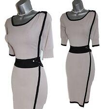 KAREN MILLEN Grey Black Knitted Short Sleeves Pencil Office Formal Dress 3 UK12