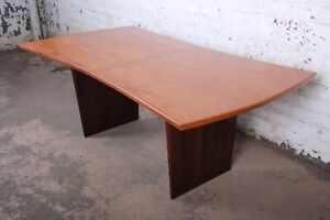 Details About Harvey Probber Mid Century Modern Teak And Walnut Bow Tie Extension Dining Table