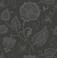 Tapete, Designtapete, Blumenprint, Schwarz, Silber, Glitzer, Edel, Luxus, Vlies