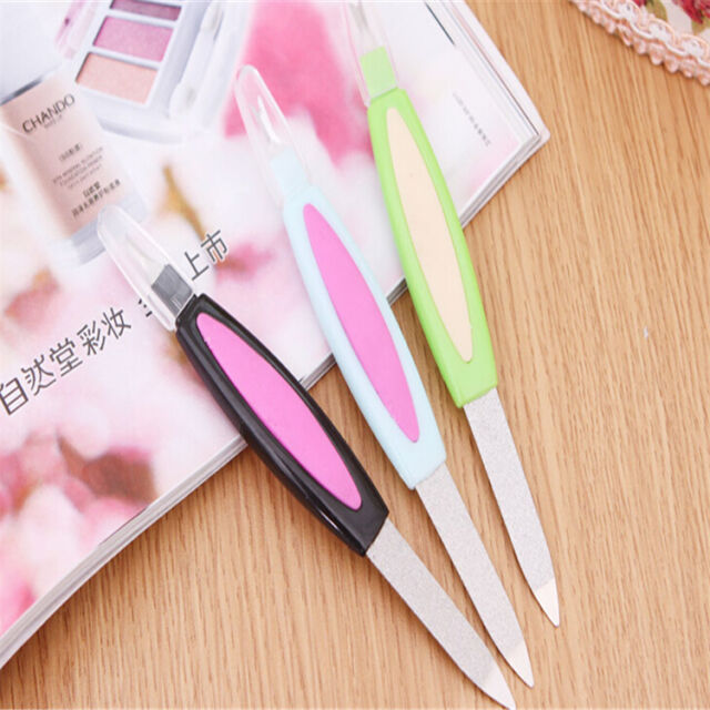 2 in 1 Nail Art Manicure Pedicure File Cuticle Trimmer Remover Buffer Y