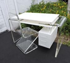 Mid Century Lucite Acrylic Plexiglass Desk Vanity Table with  Z Shape Chair 8436