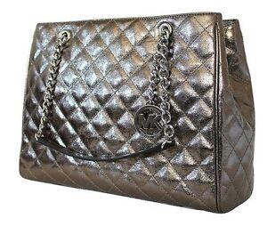 Image Is Loading New Michael Kors Susanna Metallic Nickel Leather Tote