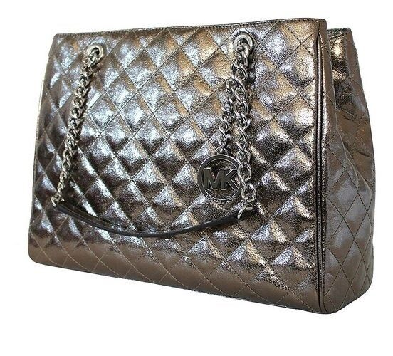 d0c2cd350e68 Michael Kors Susannah Large Quilted Tote Nickel 35h6maht3m Authentic for  sale online