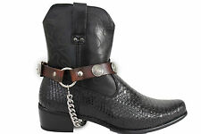Men Biker Silver Boots Chains Straps Pair Brown Leather Native Indian Face Charm