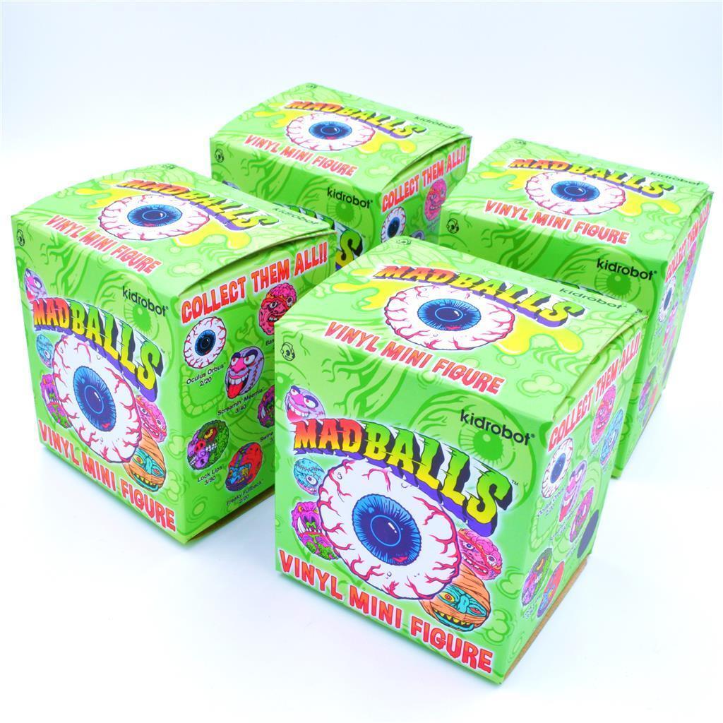 SET OF 4  MAD BALLS BLIND BOX VINYL MINI FIGURES SERIES BY KIDROBOT
