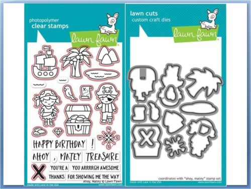 Lawn Fawn Photopolymer Clear Stamp /& Die Combo ~ AHOY MATEY Pirate ~LF1411,1412