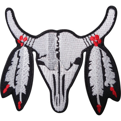 Buffalo Skull Feathers Embroidered Iron / Sew On Patch Embroidery Applique Badge