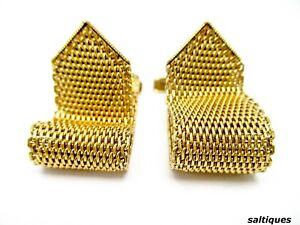 Vintage-Cuff-Links-Swank-Gold-Tone-Mesh-Belt-Shape-Wrap-Around-Cufflinks-RARE