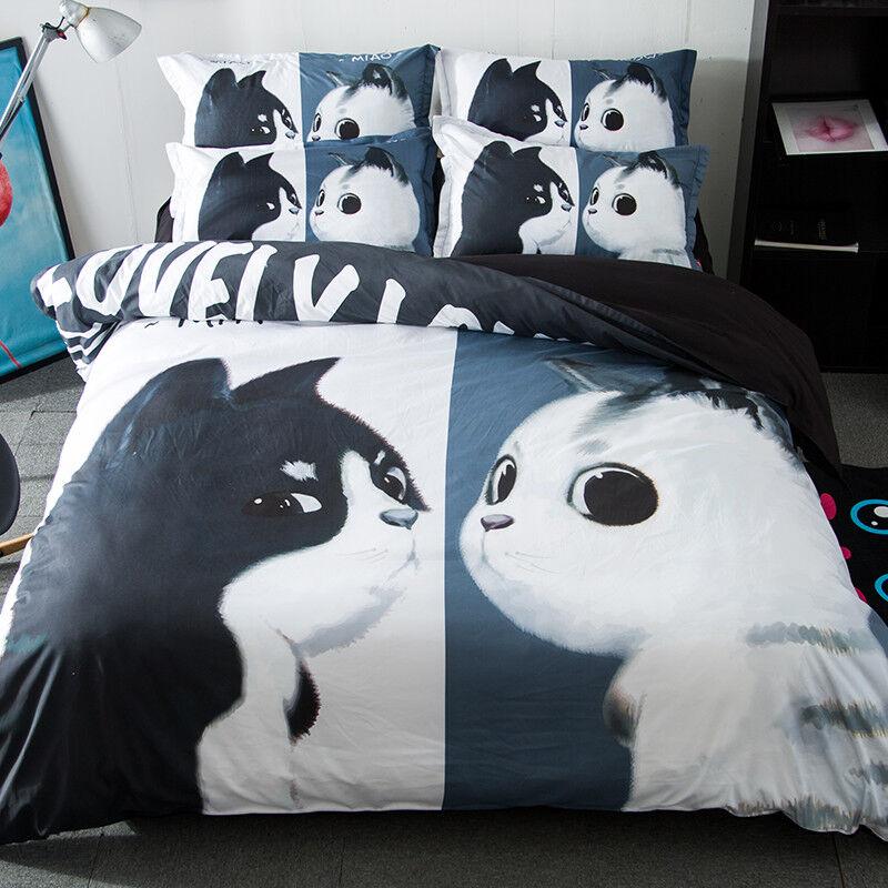 3D Cute Cats 806 Bed Pillowcases Quilt Duvet Cover Set Single Queen UK Kyra
