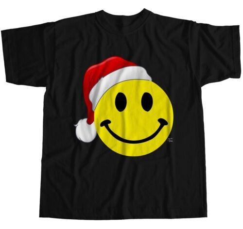 1Tee Mens Old Skool Smiling Face Santa Hat T-Shirt