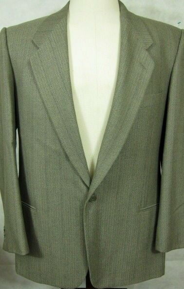 Giorgio Armani Single Button  grau Herringbone Wool Sport Coat 42L