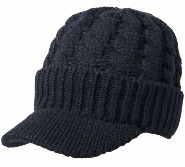 Sierry Womens Cable Knit Hat Warm Knit Beanie Winter Caps With Visor Brim fb081a71eab0
