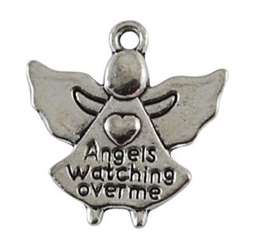 Silver ANGELS WATCHING OVER ME pendants charm x10 30mm bereavement C198 UK