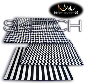 AMAZING-THICK-MODERN-RUGS-SKETCH-WHITE-BLACK-20-Pattern-LARGE-SIZE-BEST-CARPETS