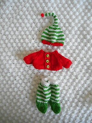 Doll Clothes Christmas 3 pcs red-green-white knitted set for doll 5""
