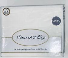 Peacock Alley Queen Sheet Set Egyptian Cotton Jacquard Stripe 550TC x-DEEP White