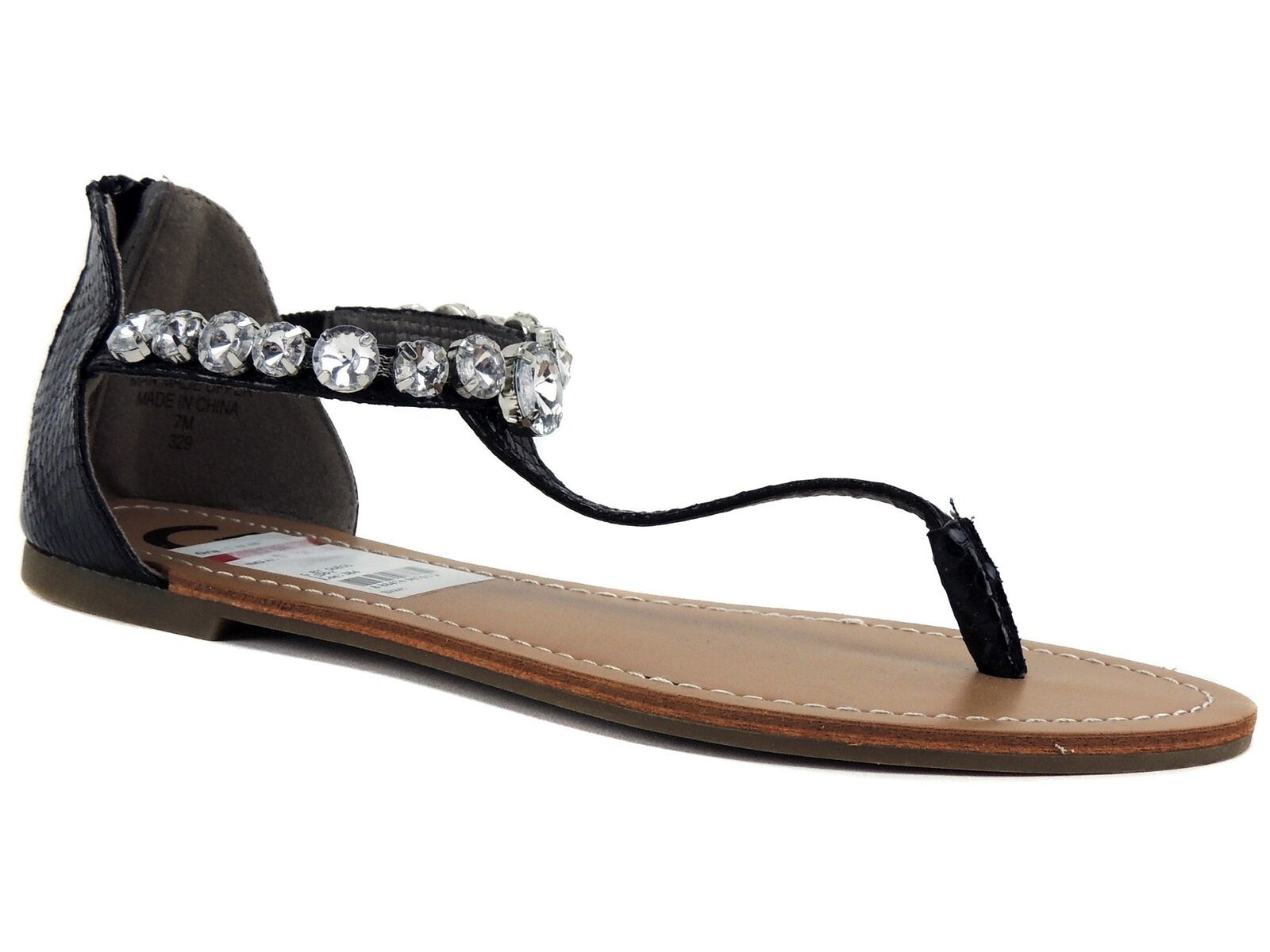 G By Guess Women's Lippy Flat Thong Sandals 7 Black Snake Print Size 7 Sandals M 65125f