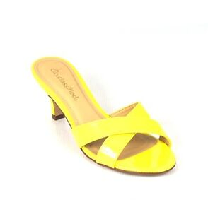 Image is loading Bright-Yellow-Patent-Cutie-Criss-Cross-Summer-Chic-