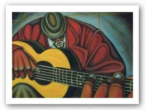 Bluez Man II by Cbabi Bayoc 24x32 Guitar Music Poster JAZZ ART PRINT