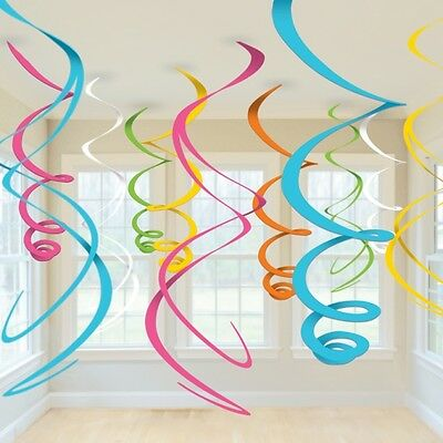 Hanging Swirls Party Decoration Pack of 12 Lots Of Colours All Under One Listing