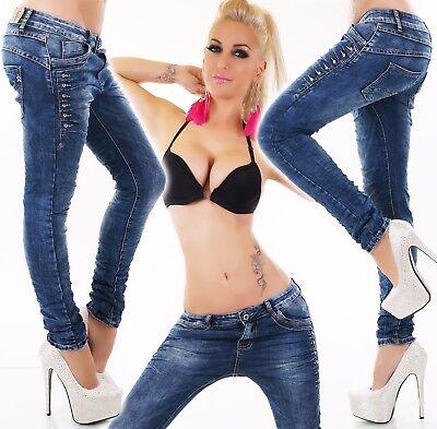 Damen Hüft Jeans Hose Baggy Boyfriend Style Röhrenjeans Stretch Knitter Crash