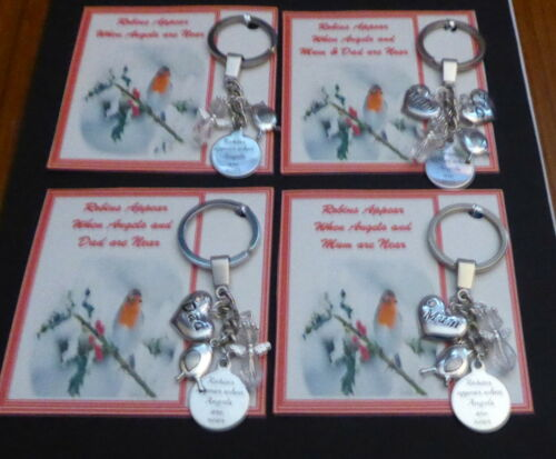 Robins Appear When Angels are Near Mum or Dad are near Keyring Remembrance Gift