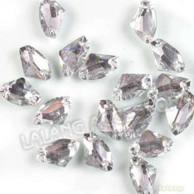 75xpcs Wholesale Charms Crystal Sew-on Resin Flatback Bead 11.5x19mm JJ