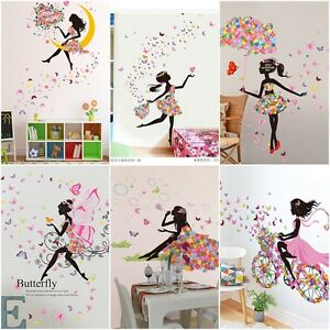 Details About DIY Lovely Pink Girl Art Wall Stickers For Kids Rooms PVC Wall  Decals Home Decor