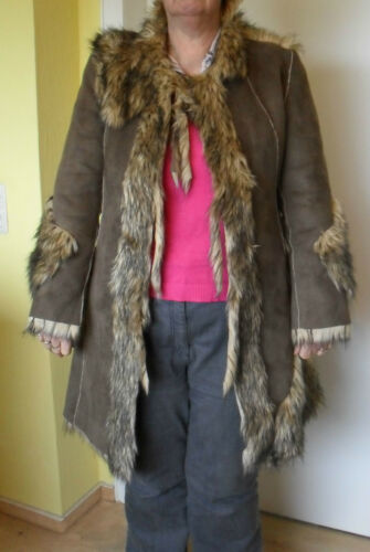 Fake Fur Mantel Kunstfell Reversible Coat knielang knee-length Taupe 40