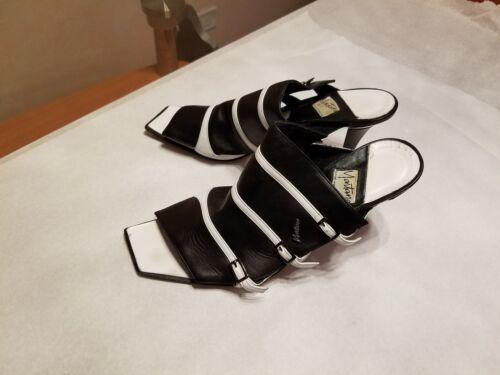Italy 37 cuero negro de Sandalias Paris tobilleras en y blanco In made Montana de size tacón de IwaqT6