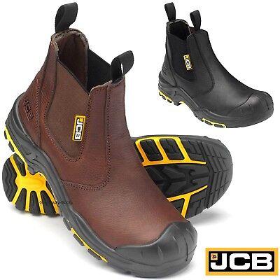 JCB Mens Waterproof S3 Safety Work Dealer Boots Steel Toe Cap Chelsea Shoes Size | eBay