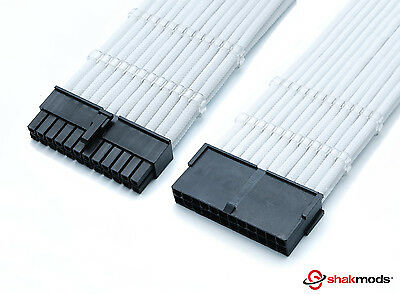Shakmods 24pin ATX Motherboard 30cm White Sleeved Extension + 2 Cable Combs