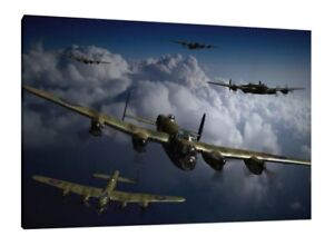 Lancaster-Bomber-30x20-Inch-Canvas-Dam-Busters-WW2-Framed-Picture-Print-Art