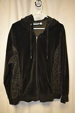Womens Hoodie Croft & Barrow Black Pull String Open Zipper Pockets Long Sleeve