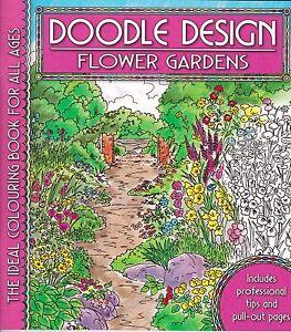 Flower Gardens Colouring Book Doodle Design Art