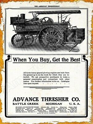 Traction Engine /& Hummingbird 1916 Wood Brothers Thresher New Metal Sign