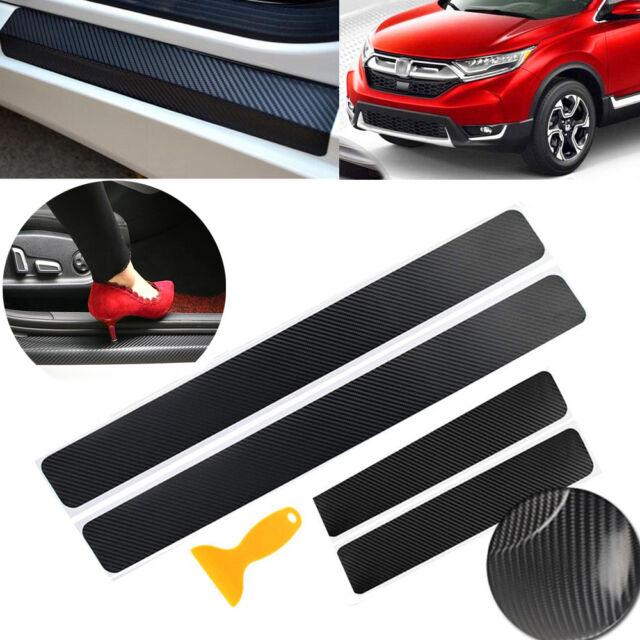 4pcs Carbon Fiber Vinyl 4D Car Scuff Plate Door Sill Sticker Panel Protector Kit