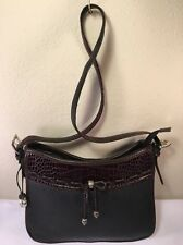 BRIGHTON Vintage Black & Brown Leather Shoulder Bag Handbag Organizer GUC