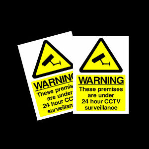 CCTV 24hr Surveillance warning stickers *Pack of 2* 100x150mm A6 Sign - MISC12