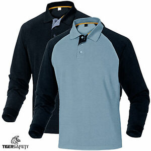 Delta-Plus-Panoply-Turino-Mens-100-Cotton-Long-Sleeve-Polo-Shirt-T-Shirt-Top