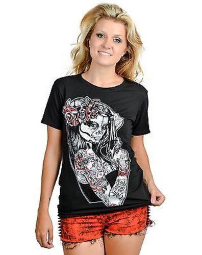 Authentic Too Fast Anna Maria Punk Goth Gun Skull Tattoo Slash Back T Shirt S-Xl