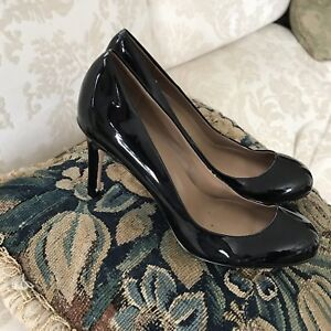 Ann Taylor black patent leather closed